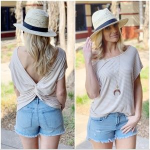 Taupe Striped Twist Back Top